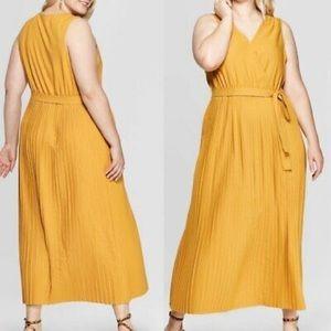 Ava & Viv Plus Size Mustard Pleated Dress